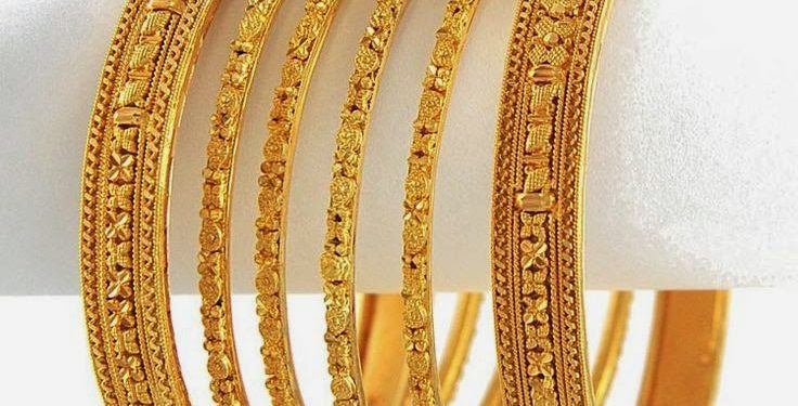 cb29e38a95a Latest designer gold bangles. Flat 22k gold bangles with embossed designs &  different width sizes.