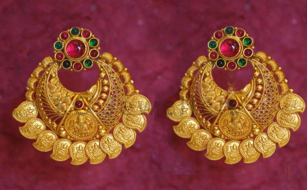 Latest Antiq Gold Chandbali earrings images | Dhanalakshmi Jewellers