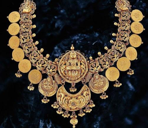 Chettinad Jewelry   Dhanalakshmi Jewelers   Coin Necklace   Kasu mala