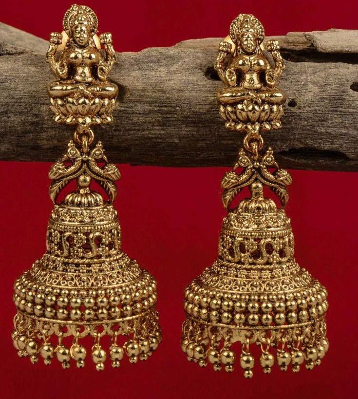 Antique Lakshmi Gold Earring Designs | Dhanalakshmi Jewelers