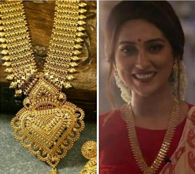 Gold chandan haar with pendant